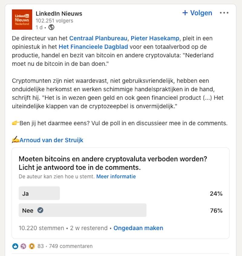 linkedin nieuws bitcoin verbod